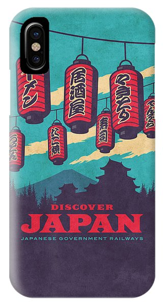 Travel iPhone Case - Japan Travel Tourism With Japanese Castle, Mt Fuji, Lanterns Retro Vintage - Blue by Ivan Krpan