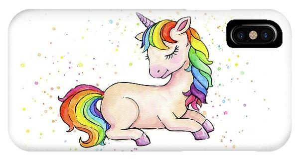 Unicorn iPhone Case - Sleeping Baby Rainbow Unicorn by Olga Shvartsur