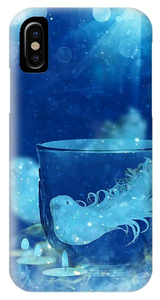 IPhone Case featuring the mixed media Season's Greetings Blue With Bird by Rachel Hannah