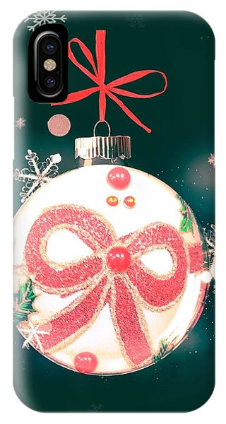 IPhone Case featuring the photograph Merry Christmas Ribbon Ornament by Rachel Hannah