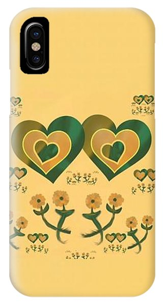 The Art Of Gandy iPhone Case - Multiple Tilted Hearts Bronze by Joan Ellen Kimbrough Gandy of The Art of Gandy