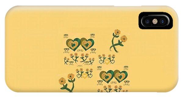The Art Of Gandy iPhone Case - Multiple Tilted Hearts Bronze II by Joan Ellen Kimbrough Gandy of The Art of Gandy