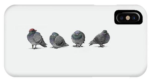 Cute Bird iPhone Case - Four Pigeons by Eric Fan