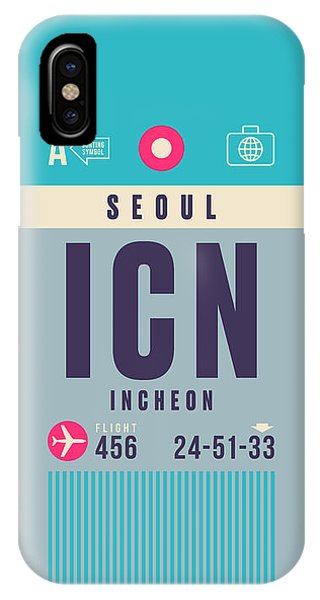 Airline iPhone Case - Retro Airline Luggage Tag - Icn Seoul Incheon by Ivan Krpan
