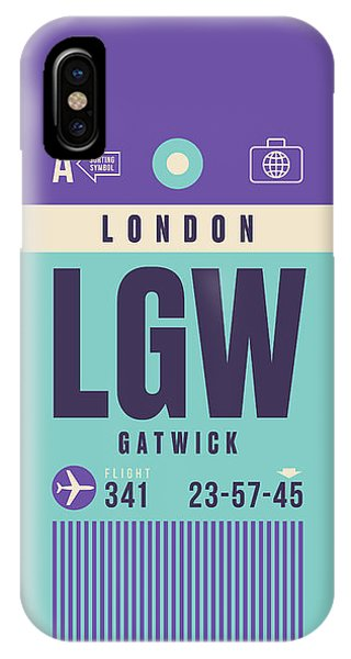 Airline iPhone Case - Retro Airline Luggage Tag - Lgw London Gatwick Airport by Ivan Krpan