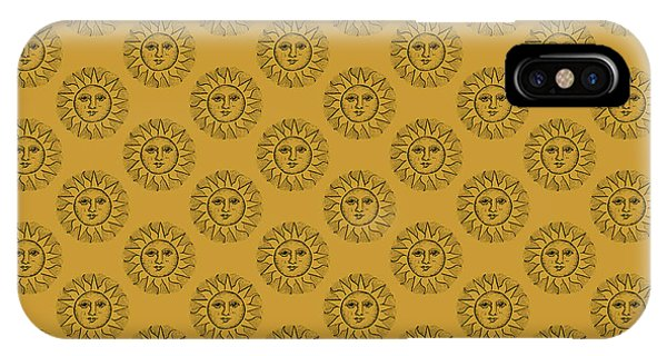 Mustard iPhone Case - Vintage Celestial Sun Face by Kaleigh Day