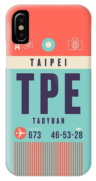 Airline iPhone Case - Retro Airline Luggage Tag - Tpe Taipei Taiwan by Ivan Krpan