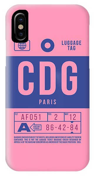 Airline iPhone Case - Retro Airline Luggage Tag 2.0 - Cdg Paris Charles De Gaulle France by Ivan Krpan