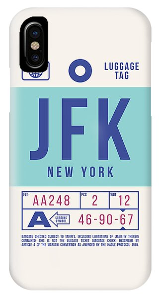 Airline iPhone Case - Retro Airline Luggage Tag 2.0 - Jfk New York United States by Ivan Krpan