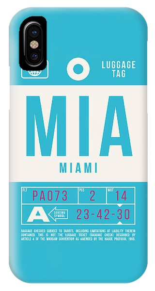 Airline iPhone Case - Retro Airline Luggage Tag 2.0 - Mia Miami International Airport United States by Ivan Krpan