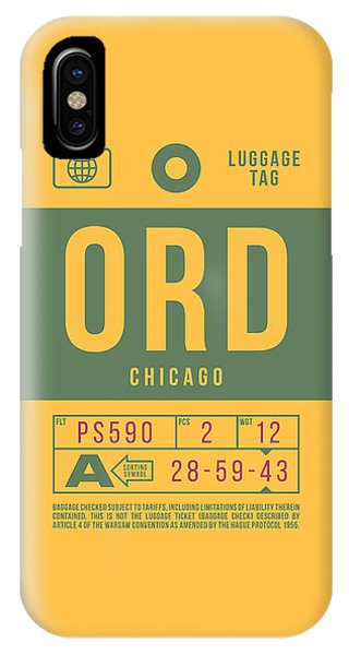 Airline iPhone Case - Retro Airline Luggage Tag 2.0 - Ord Chicago O'hare Airport United States by Ivan Krpan