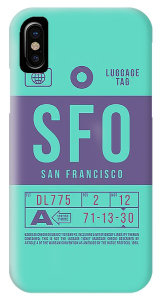 Airline iPhone Case - Retro Airline Luggage Tag 2.0 - Sfo San Francisco International Airport United States by Ivan Krpan