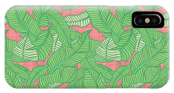 Banana Leaf Pattern Pink IPhone Case