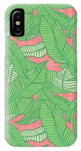 Banana Leaf Pattern Pink IPhone Case