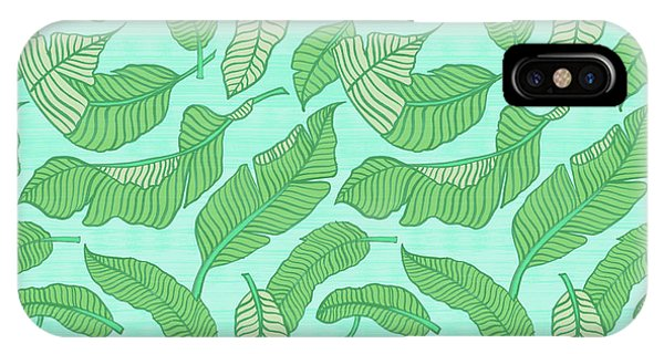 Banana Leaf Pattern Blue IPhone Case