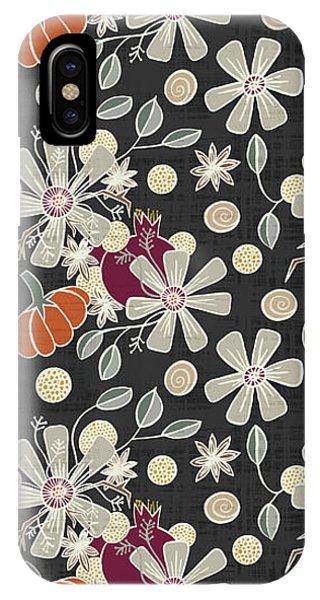 Fall Pumpkin Botanical Pattern Black Background IPhone Case
