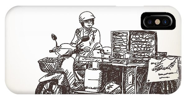 Small Business iPhone Case - Asian Street Food On Motorbike, Hand by Art Of Line
