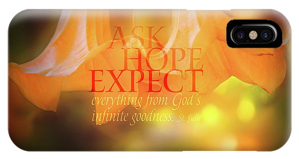 Yellow Trumpet iPhone Case - Ask Hope Expect Flower by Terry Davis