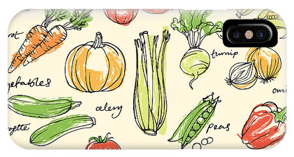 Kitchen iPhone Case - Assorted Vegetables Seamless Pattern by Ohn Mar