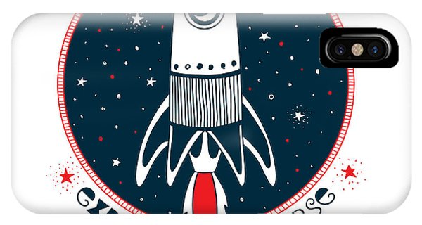 Astronaut iPhone Case - Astronaut Rocket In Outer Space , Kid by Olga angelloz
