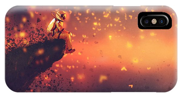 Astronaut iPhone Case - Astronaut Sitting On Cliffs Edge And by Tithi Luadthong