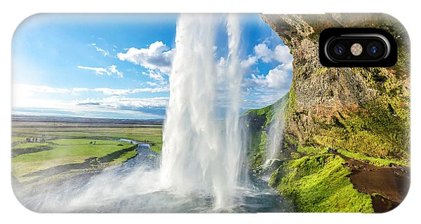 River Flow iPhone Case - At The Back Of Seljalandsfoss In Iceland by Cheng Yuan