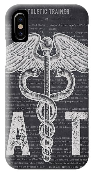 At Work iPhone Case - Athletic Trainer Gift Idea With Caduceus Illustration 02 by Aged Pixel