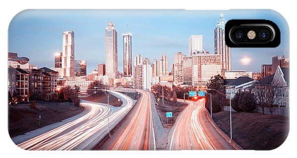 Downtown iPhone Case - Atlanta Skyline, Georgia, Usa by Nickolay Khoroshkov