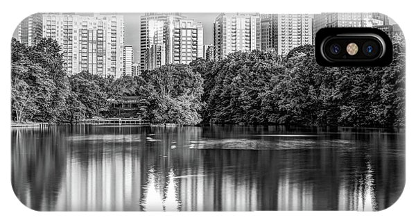 Atlanta Skyline On Lake Clara Meer - Piedmont Park View Monochrome 1x1 IPhone Case