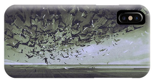 Crow iPhone Case - Attack Of Crows,man Running Away From by Tithi Luadthong