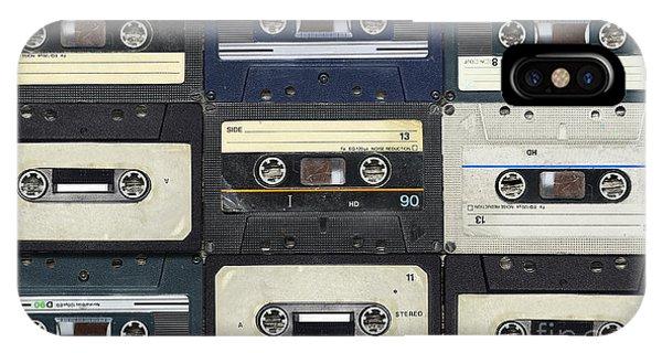 Technology iPhone Case - Audio Cassettes. Retro Background by Krasovski Dmitri