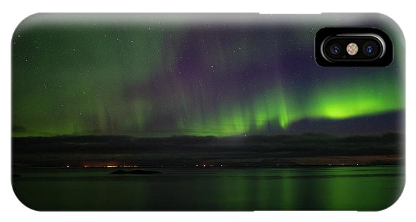 Aurora Borealis Reflecting At The Sea Surface IPhone Case