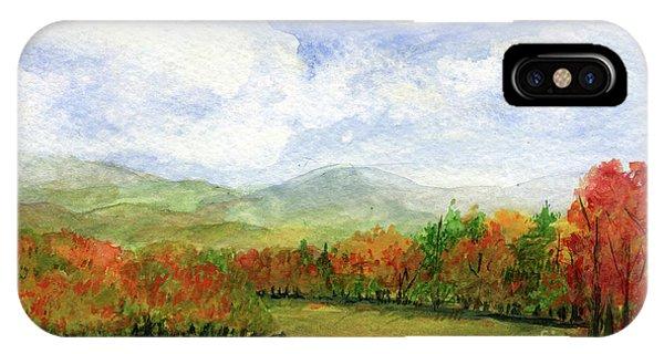 Autumn Day Watercolor Vermont Landscape IPhone Case