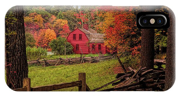 Autumn Fall Colors Over A Red Wooden Home IPhone Case