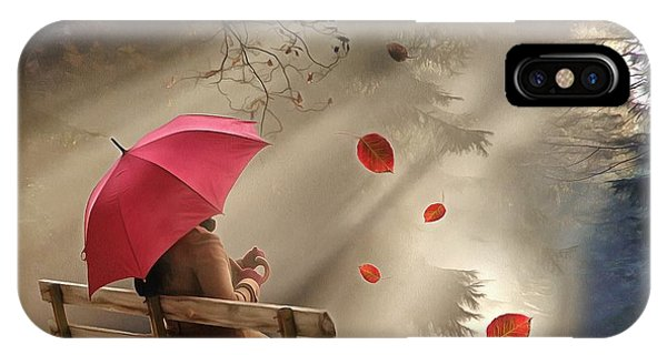 Park Bench iPhone Case - Autumn In Silence by Louise Lavallee