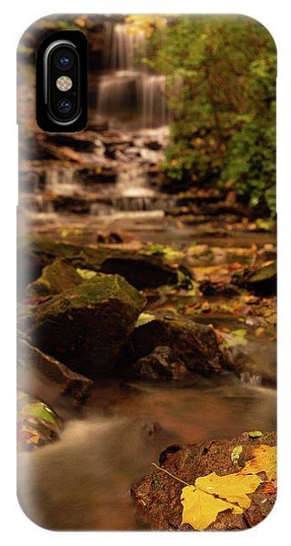 IPhone Case featuring the photograph Autumn Leaves West Milton Waterfall by Dan Sproul
