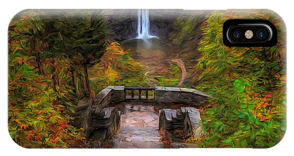 IPhone Case featuring the painting Autumn Morning At Taughannock Falls by Dan Sproul