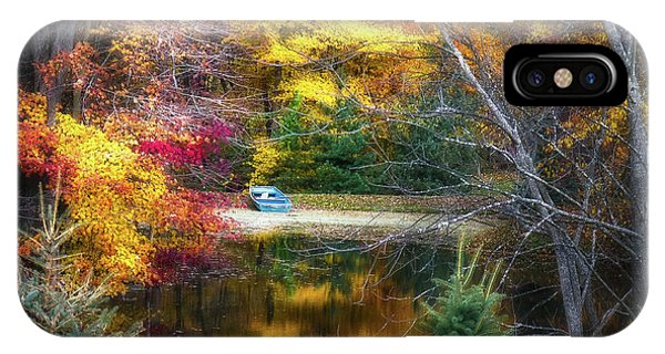 Calm iPhone Case - Autumn Pond With Rowboat by Tom Mc Nemar