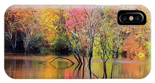 IPhone Case featuring the photograph Autumn Reflections At Alum Creek by Angela Murdock