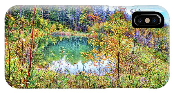 IPhone Case featuring the photograph Autumn Reflections At The Pond by Lynn Bauer