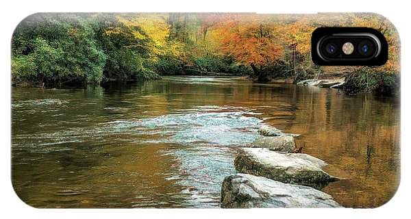 IPhone Case featuring the photograph Autumn River Reflections by Claire Turner
