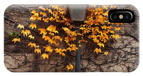 Orange Color iPhone Case - Autumn Street Lamp. Paris. Montmartre by Artens