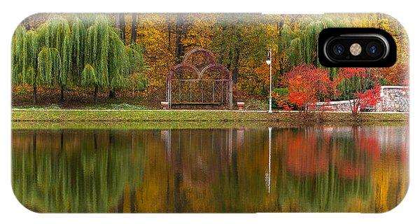 Park Bench iPhone Case - Autumn Tints Of Nature,park In Autumn by Photosite