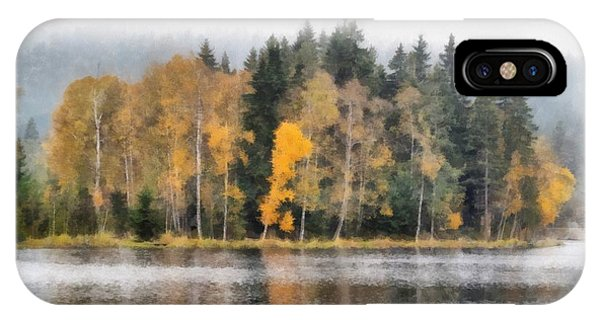 iPhone Case - Autumn Trees On The Bank Of Lake by Michal Boubin