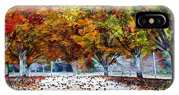 IPhone Case featuring the digital art Autumn Trees by Pennie McCracken