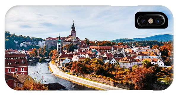 Historic House iPhone Case - Autumn View On The Cesky Krumlov And by Daliu