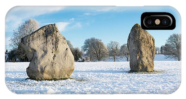Avebury Stone Circle In The Snow Panoramic Phone Case by Tim Gainey