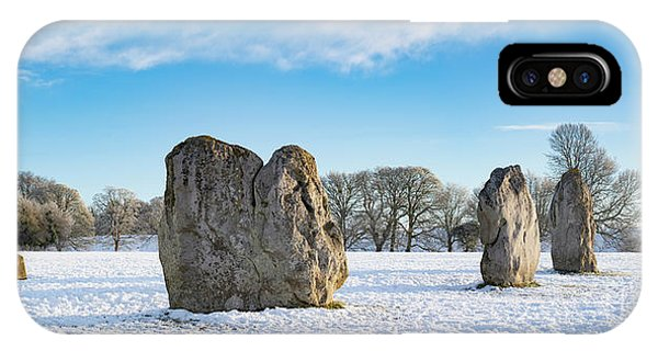 Avebury Stone Circle In The Winter Snow Phone Case by Tim Gainey