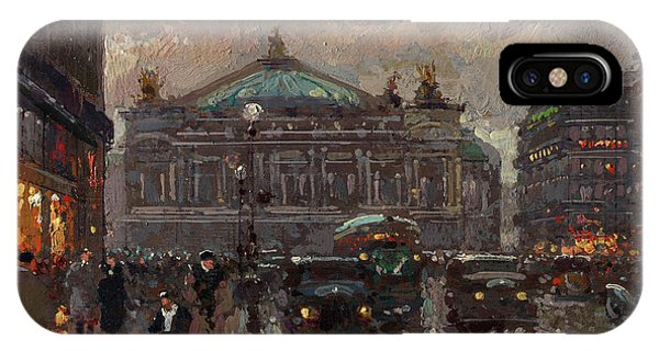 Avenue iPhone Case - Avenue De L'opera, Paris-peace Street And Place Vendome, Paris by Edouard Leon Cortes