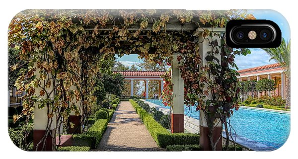 J Paul Getty iPhone Case - Awesome Getty Villa Landscape Walkway Pool California  by Chuck Kuhn